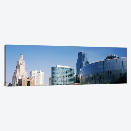 Low angle view of downtown skyline, Sprint Center, Kansas City, Missouri, USA Canvas Print #PIM10592} by Panoramic Images Canvas Wall Art