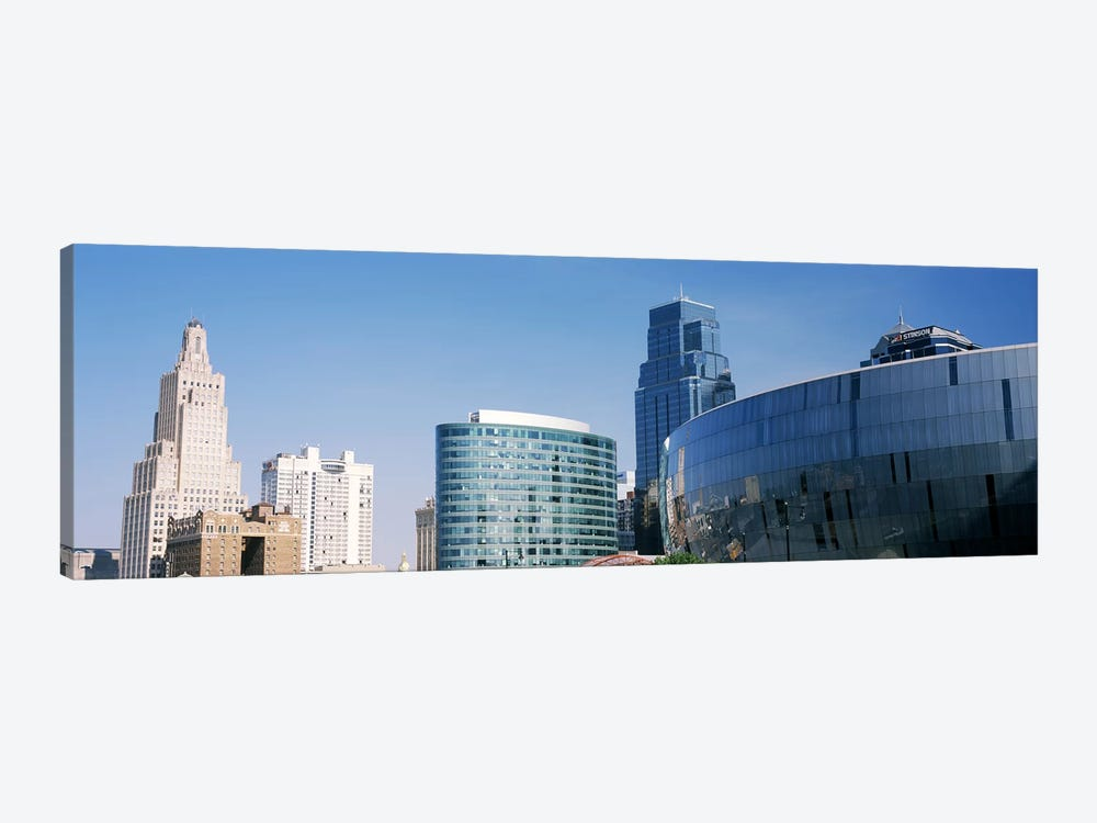 Low angle view of downtown skyline, Sprint Center, Kansas City, Missouri, USA by Panoramic Images 1-piece Canvas Print