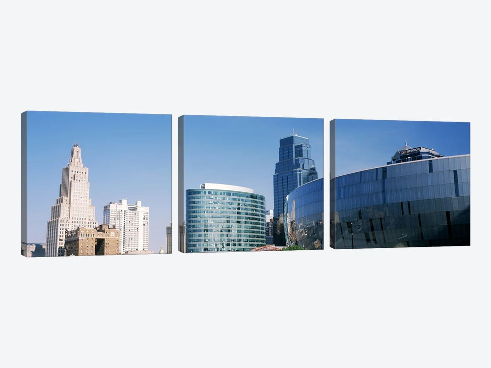 Low angle view of downtown skyline, Sprint Center, Kansas City, Missouri, USA by Panoramic Images 3-piece Art Print