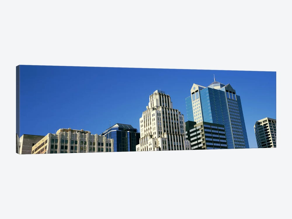 Low angle view of downtown skyline, Town Pavilion, Kansas City, Missouri, USA by Panoramic Images 1-piece Canvas Art Print