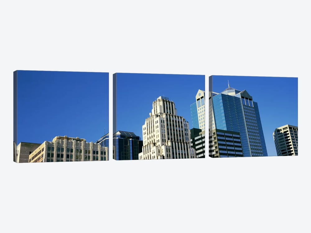 Low angle view of downtown skyline, Town Pavilion, Kansas City, Missouri, USA by Panoramic Images 3-piece Canvas Art Print