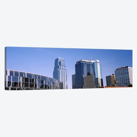 Low angle view of downtown skyline, Town Pavilion, Kansas City, Missouri, USA #2 Canvas Print #PIM10595} by Panoramic Images Art Print