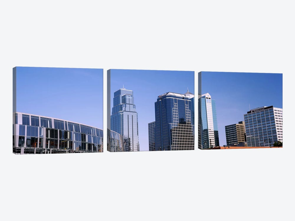 Low angle view of downtown skyline, Town Pavilion, Kansas City, Missouri, USA #2 by Panoramic Images 3-piece Canvas Art