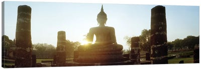 Statue of Buddha at sunset, Sukhothai Historical Park, Sukhothai, Thailand Canvas Art Print