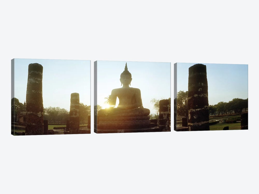 Statue of Buddha at sunset, Sukhothai Historical Park, Sukhothai, Thailand by Panoramic Images 3-piece Canvas Wall Art