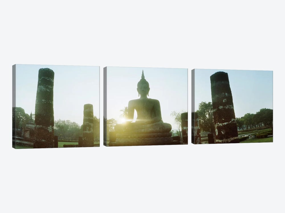 Statue of Buddha at sunset, Sukhothai Historical Park, Sukhothai, Thailand #2 by Panoramic Images 3-piece Canvas Art