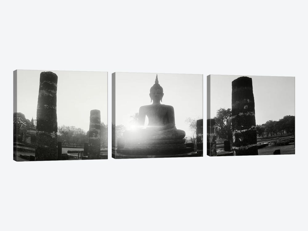 Statue of Buddha at sunset, Sukhothai Historical Park, Sukhothai, Thailand #3 by Panoramic Images 3-piece Canvas Print