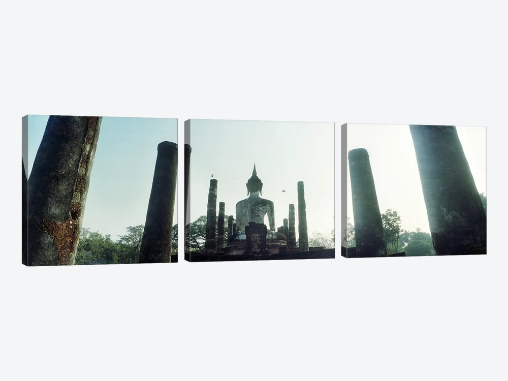 Statue of Buddha at a temple, Sukhothai Historical Park, Sukhothai, Thailand by Panoramic Images 3-piece Canvas Wall Art