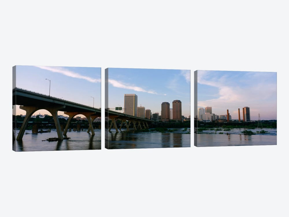 Manchester Bridge & Downtown Skyline, Richmond, Virginia, USA by Panoramic Images 3-piece Canvas Art
