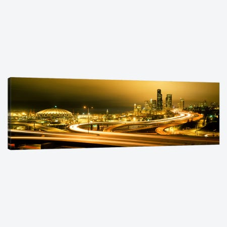 Buildings lit up at night, Seattle, Washington State, USA Canvas Print #PIM1063} by Panoramic Images Canvas Print