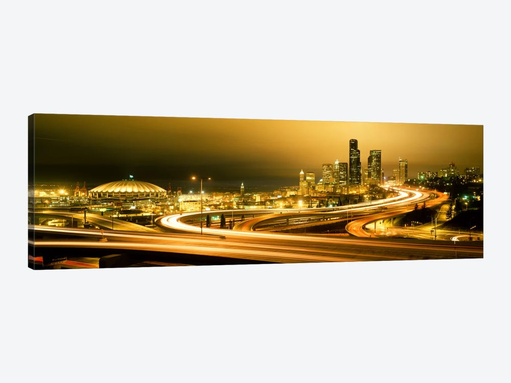 Buildings lit up at night, Seattle, Washington State, USA by Panoramic Images 1-piece Canvas Art Print
