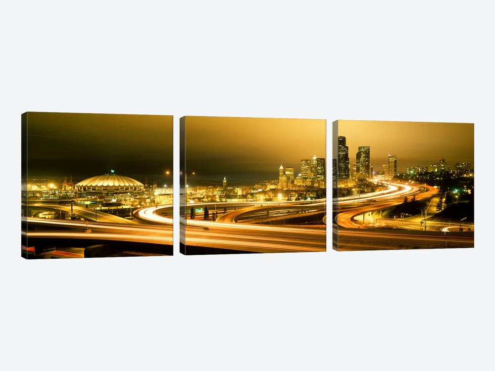Buildings lit up at night, Seattle, Washington State, USA by Panoramic Images 3-piece Canvas Art Print