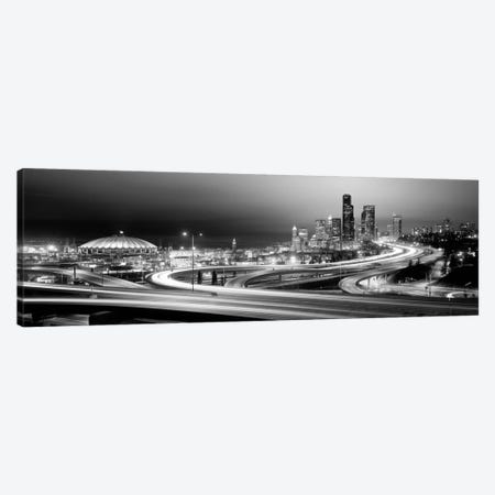 Buildings lit up at night, Seattle, Washington State, USA (black & white) Canvas Print #PIM1063bw} by Panoramic Images Canvas Art