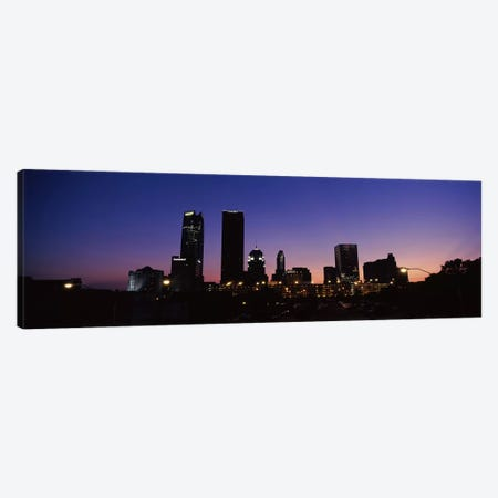 Downtown Skyline At Night, Oklahoma City, Oklahoma, USA Canvas Print #PIM10657} by Panoramic Images Canvas Artwork