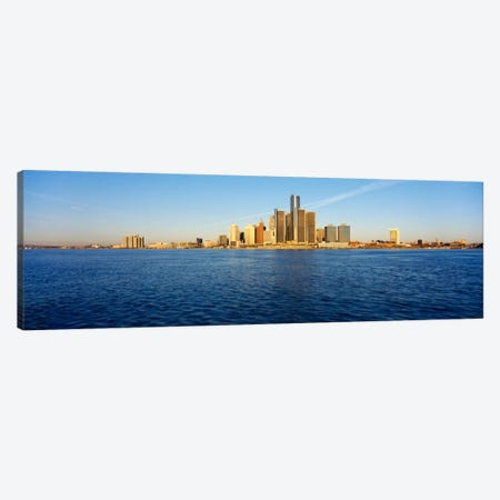 Skyscrapers on the waterfront, Detroit, Michigan, USA Canvas Print #PIM1065} by Panoramic Images Canvas Art