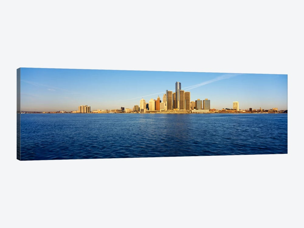 Skyscrapers on the waterfront, Detroit, Michigan, USA by Panoramic Images 1-piece Art Print