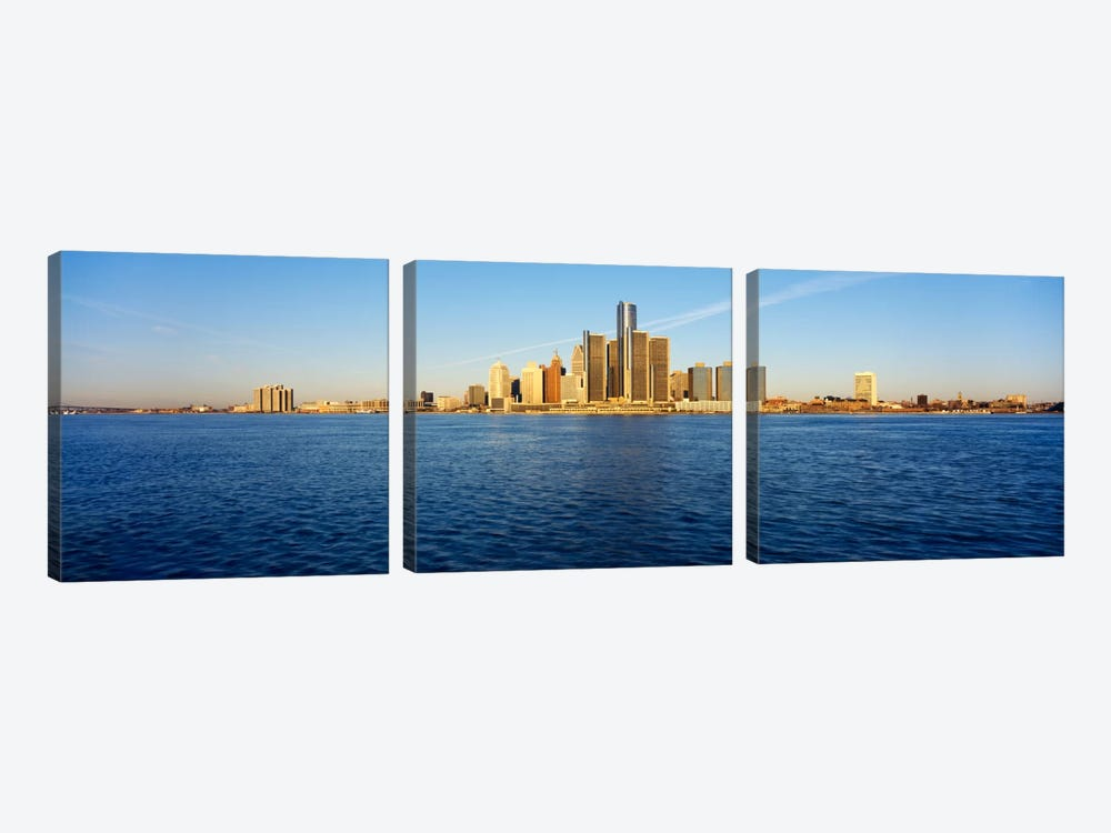 Skyscrapers on the waterfront, Detroit, Michigan, USA by Panoramic Images 3-piece Canvas Art Print