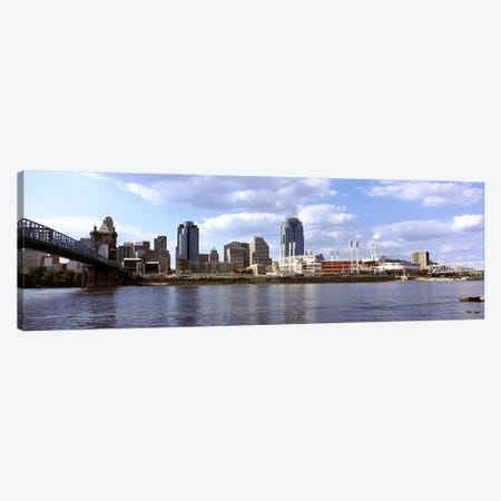 City at the waterfront, Ohio River, Cincinnati, Hamilton County, Ohio, USA Canvas Print #PIM10666} by Panoramic Images Canvas Print