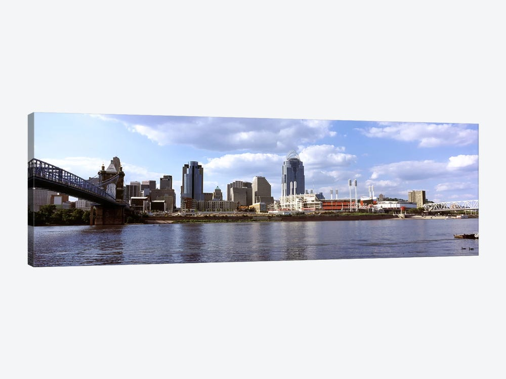 City at the waterfront, Ohio River, Cincinnati, Hamilton County, Ohio, USA 1-piece Canvas Art