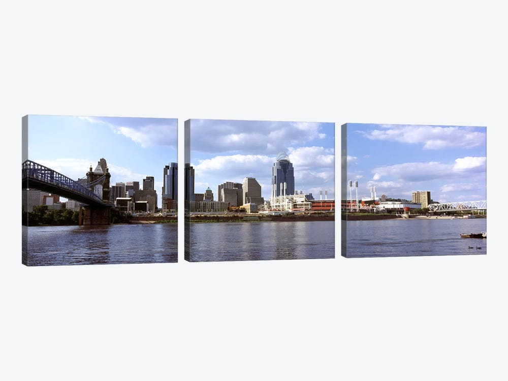City at the waterfront, Ohio River, Cincinnati, Hamilton County, Ohio, USA by Panoramic Images 3-piece Canvas Wall Art