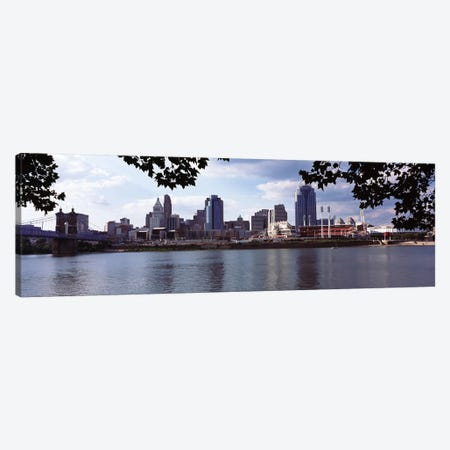 City at the waterfront, Ohio River, Cincinnati, Hamilton County, Ohio, USA Canvas Print #PIM10667} by Panoramic Images Art Print