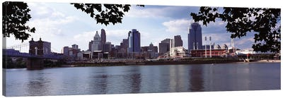 City at the waterfront, Ohio River, Cincinnati, Hamilton County, Ohio, USA Canvas Art Print