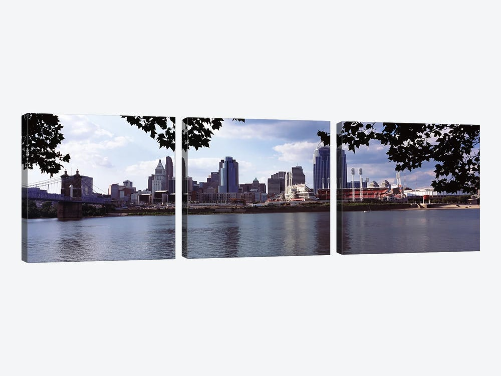 City at the waterfront, Ohio River, Cincinnati, Hamilton County, Ohio, USA by Panoramic Images 3-piece Art Print