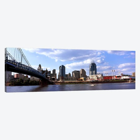 Bridge across the Ohio RiverCincinnati, Hamilton County, Ohio, USA Canvas Print #PIM10668} by Panoramic Images Canvas Art