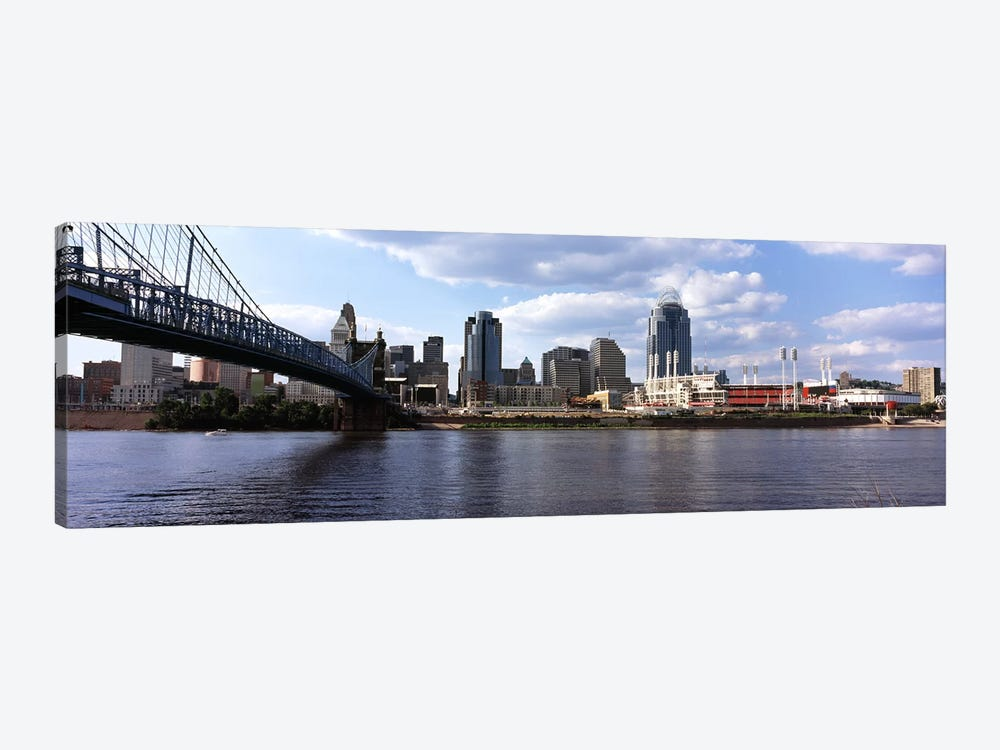 Bridge across the Ohio River, Cincinnati, Hamilton County, Ohio, USA by Panoramic Images 1-piece Canvas Print