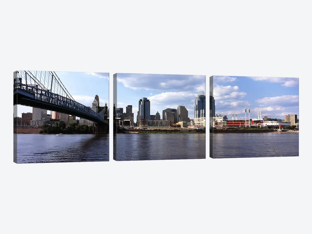 Bridge across the Ohio River, Cincinnati, Hamilton County, Ohio, USA by Panoramic Images 3-piece Art Print