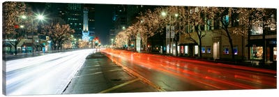 Blurred Motion Of Cars Along Michigan Avenue Illuminated With Christmas Lights, Chicago, Illinois, USA Canvas Art Print