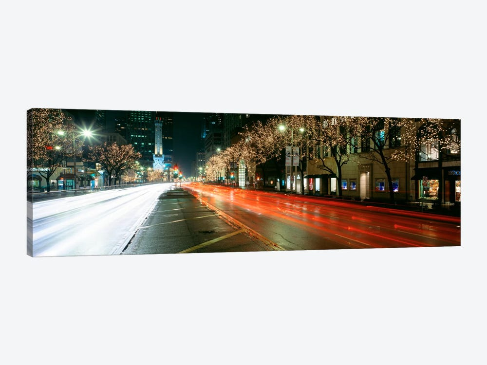 Blurred Motion Of Cars Along Michigan Avenue Illuminated With Christmas Lights, Chicago, Illinois, USA by Panoramic Images 1-piece Canvas Artwork