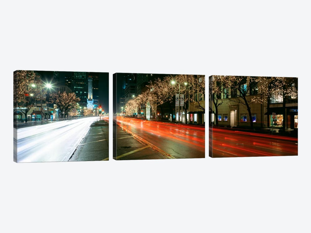 Blurred Motion Of Cars Along Michigan Avenue Illuminated With Christmas Lights, Chicago, Illinois, USA by Panoramic Images 3-piece Canvas Wall Art