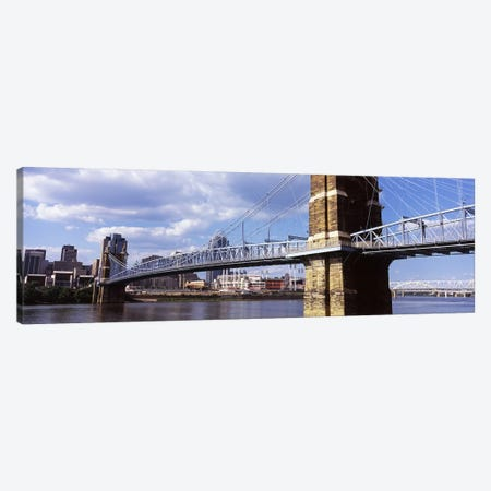 John A. Roebling Suspension Bridge across the Ohio River, Cincinnati, Hamilton County, Ohio, USA Canvas Print #PIM10670} by Panoramic Images Canvas Print