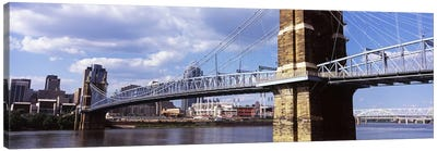 John A. Roebling Suspension Bridge across the Ohio River, Cincinnati, Hamilton County, Ohio, USA Canvas Art Print