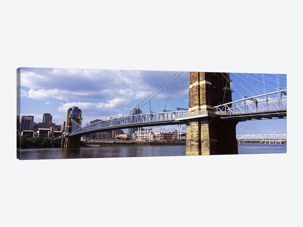 John A. Roebling Suspension Bridge across the Ohio River, Cincinnati, Hamilton County, Ohio, USA by Panoramic Images 1-piece Art Print