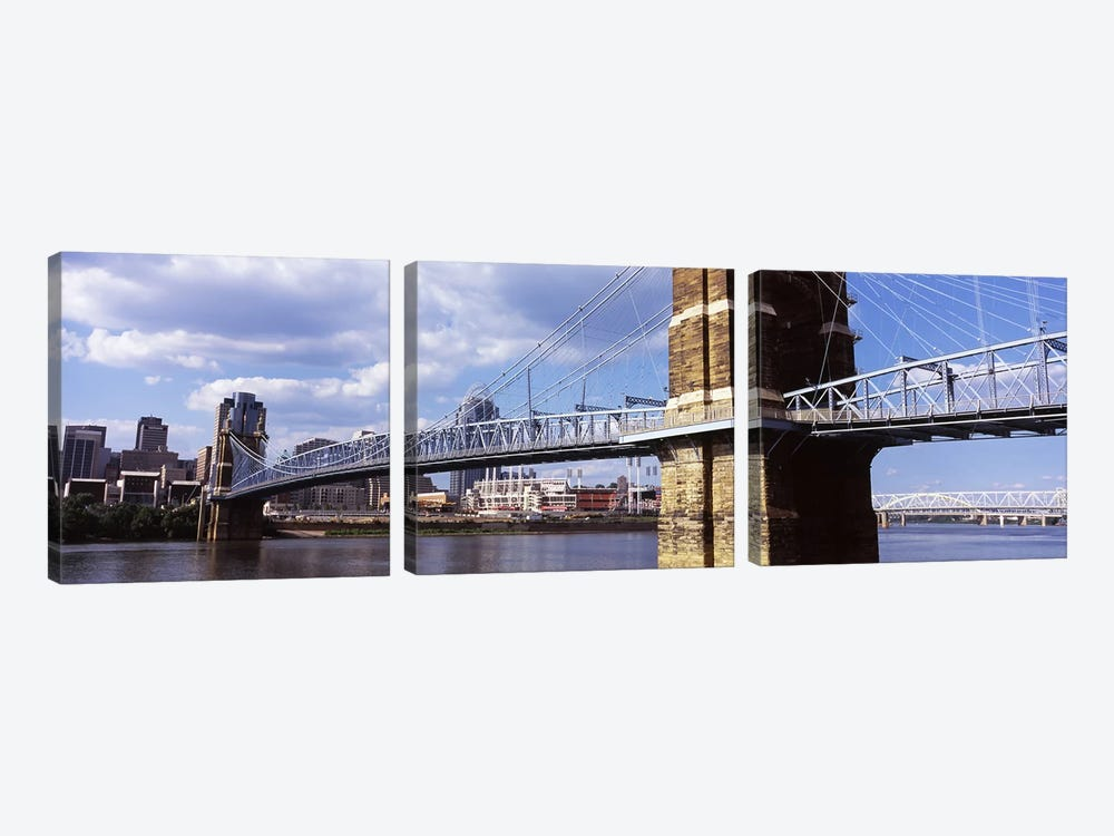 John A. Roebling Suspension Bridge across the Ohio River, Cincinnati, Hamilton County, Ohio, USA by Panoramic Images 3-piece Canvas Print