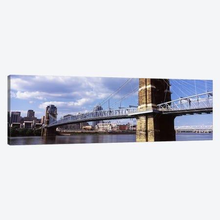 John A. Roebling Suspension Bridge across the Ohio River, Cincinnati, Hamilton County, Ohio, USA Canvas Print #PIM10670} by Panoramic Images Canvas Print