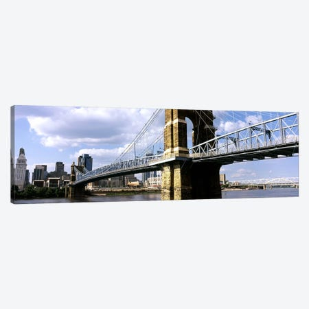 John A. Roebling Suspension Bridge across the Ohio River, Cincinnati, Hamilton County, Ohio, USA #2 Canvas Print #PIM10671} by Panoramic Images Canvas Print