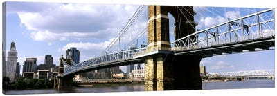 John A. Roebling Suspension Bridge across the Ohio River, Cincinnati, Hamilton County, Ohio, USA #2 Canvas Art Print