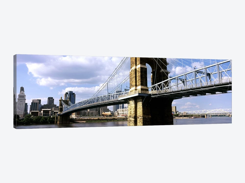 John A. Roebling Suspension Bridge across the Ohio River, Cincinnati, Hamilton County, Ohio, USA #2 by Panoramic Images 1-piece Canvas Wall Art