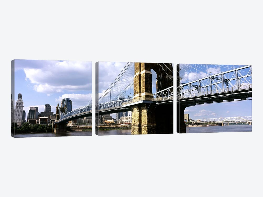 John A. Roebling Suspension Bridge across the Ohio River, Cincinnati, Hamilton County, Ohio, USA #2 by Panoramic Images 3-piece Canvas Wall Art