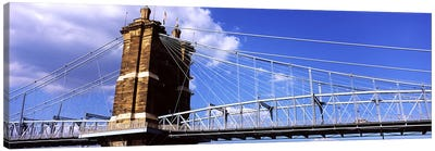 John A. Roebling Suspension Bridge across the Ohio River, Cincinnati, Hamilton County, Ohio, USA #3 Canvas Art Print