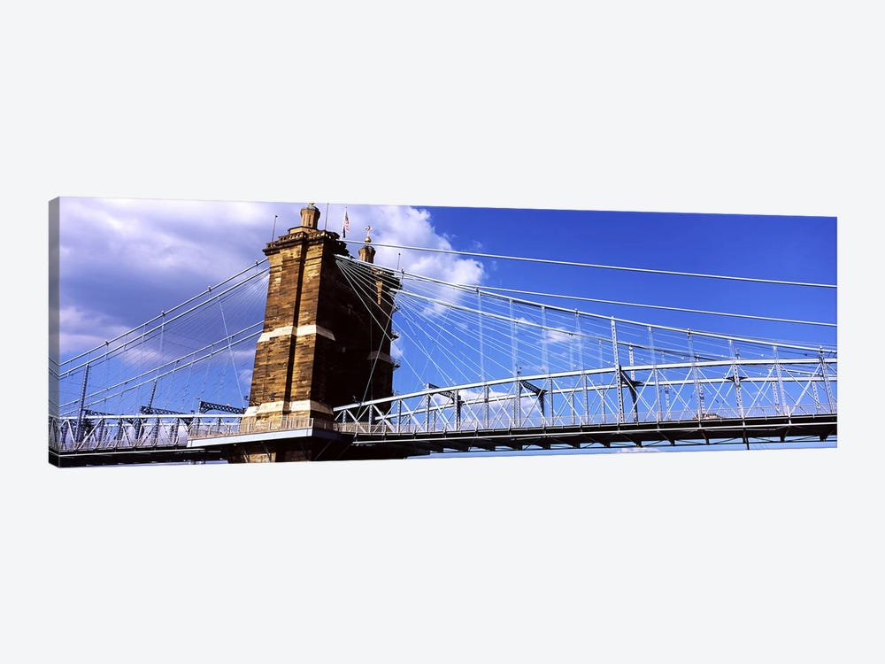 John A. Roebling Suspension Bridge across the Ohio River, Cincinnati, Hamilton County, Ohio, USA #3 by Panoramic Images 1-piece Canvas Print