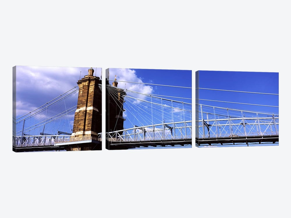 John A. Roebling Suspension Bridge across the Ohio River, Cincinnati, Hamilton County, Ohio, USA #3 3-piece Canvas Art Print