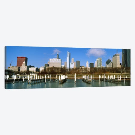 Columbia Yacht Club with buildings in the background, Chicago, Cook County, Illinois, USA Canvas Print #PIM10674} by Panoramic Images Canvas Artwork