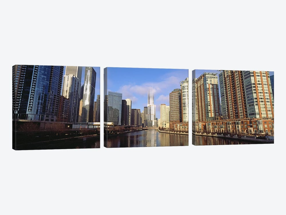 Skyscraper in a city, Trump Tower, Chicago, Cook County, Illinois, USA by Panoramic Images 3-piece Canvas Wall Art