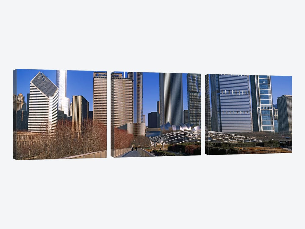 Millennium Park with buildings in the background, Chicago, Cook County, Illinois, USA by Panoramic Images 3-piece Canvas Artwork