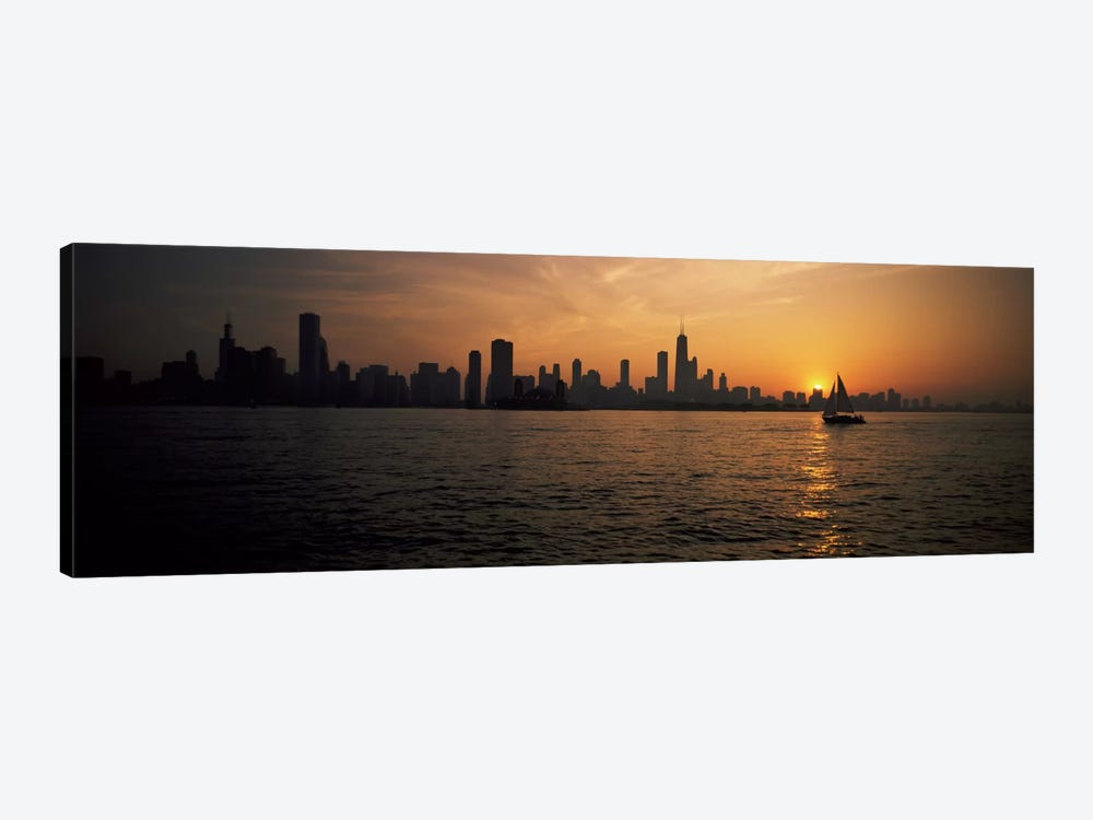 Silhouette of buildings at the waterfront, Navy Pier, Chicago, Illinois, USA by Panoramic Images 1-piece Canvas Print