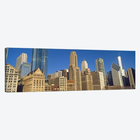 Low angle view of city skyline, Michigan Avenue, Chicago, Cook County, Illinois, USA Canvas Print #PIM10680} by Panoramic Images Canvas Wall Art